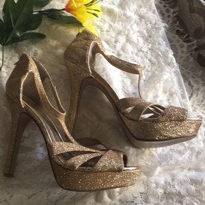 NWOT Qupid Gold Glitter Heels